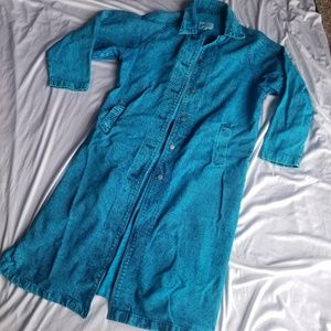 Sundance Turquoise Acid washed long denim coat M
